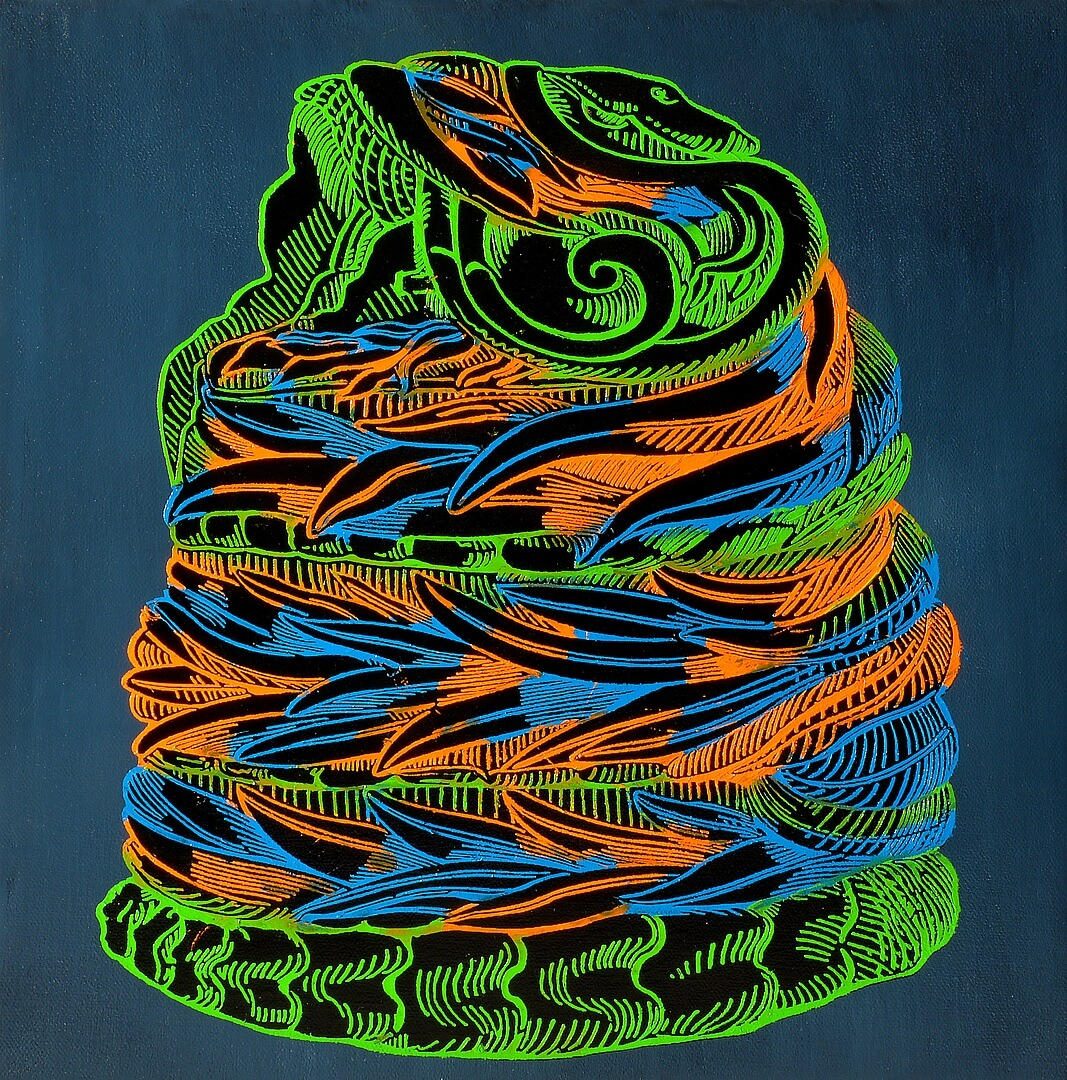 """Quetzalcoatl Two"" by Leo Jahaan.  Oil on Canvas, 2014.  36 cm x 36 cm."