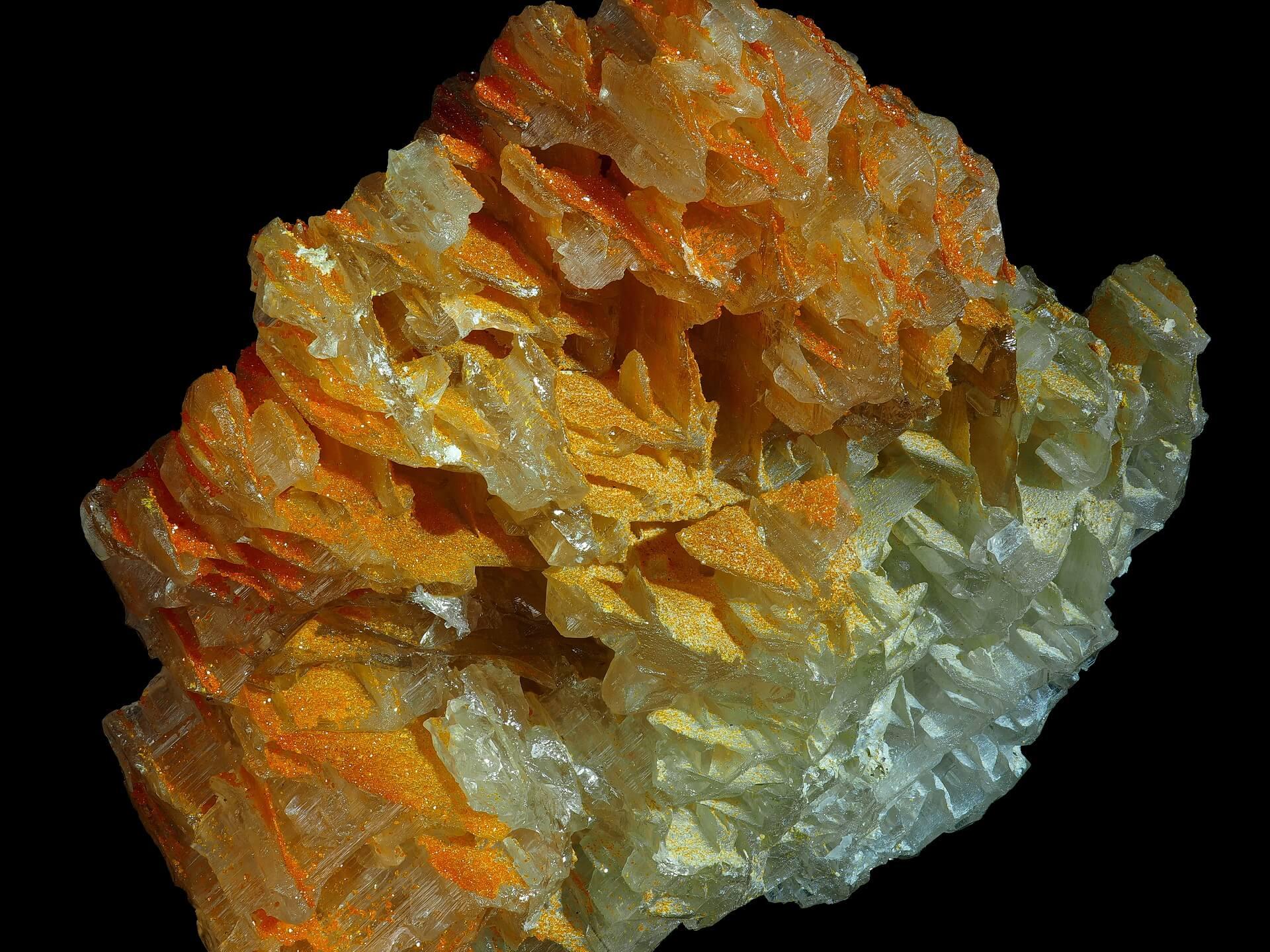 Orange Wulfenite micro crystals,