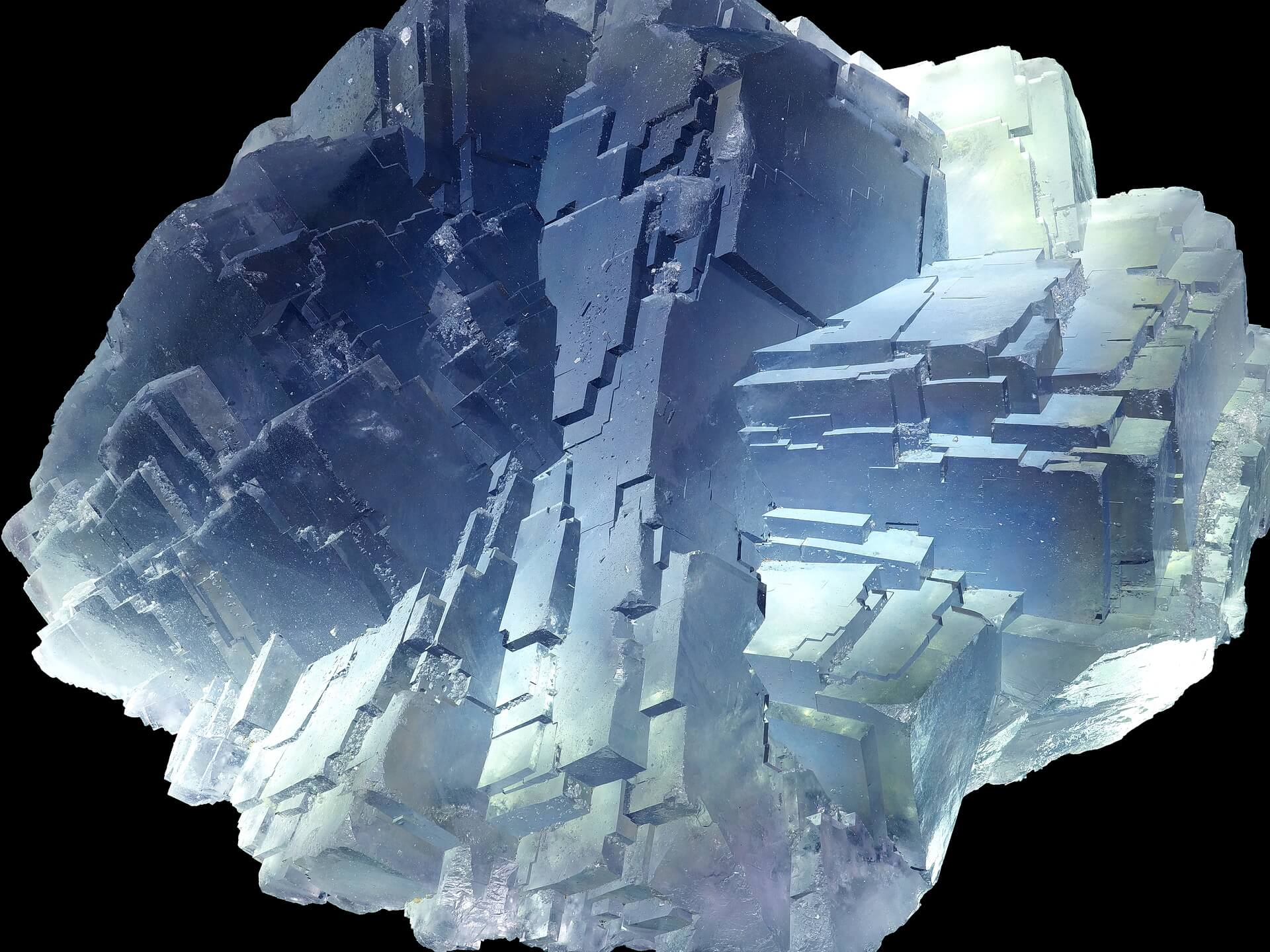 An imposing specimen of blue Fluorite with stepped appearance and striking angles.