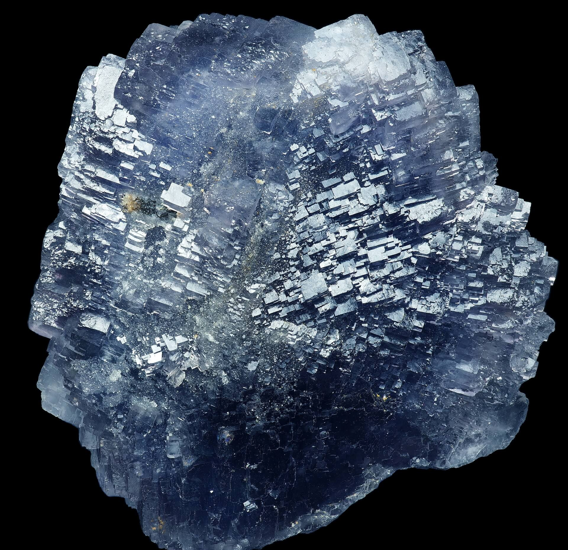 A multitude of stepped blue Fluorite crystals.