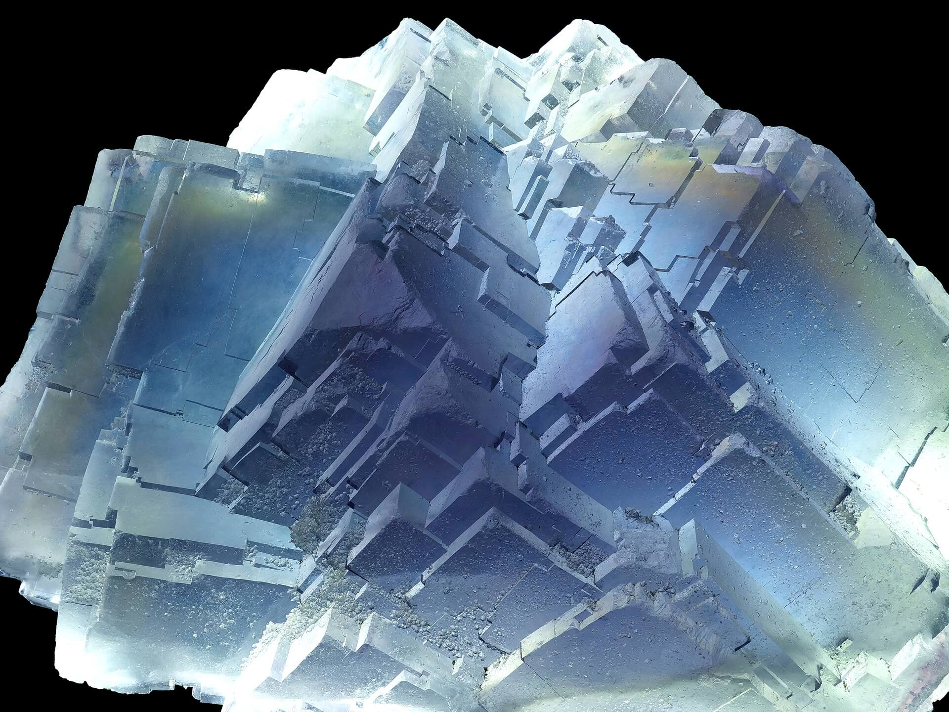 Interesting intersecting blue Fluorite cubes with micro Quartz crystals on some faces.