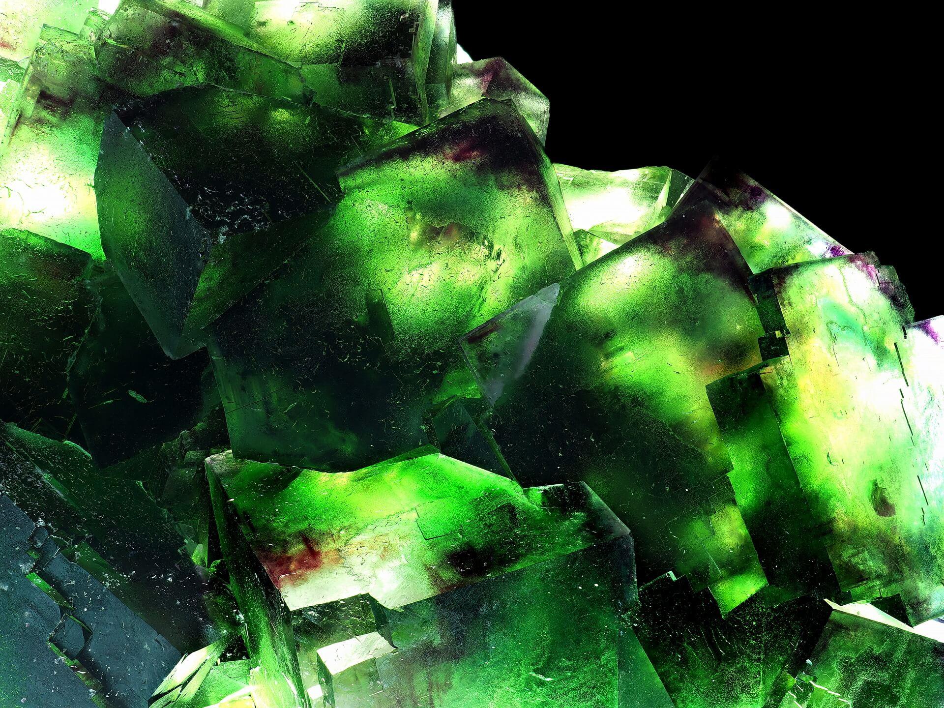 Backlit translucent cubic Fluorite.