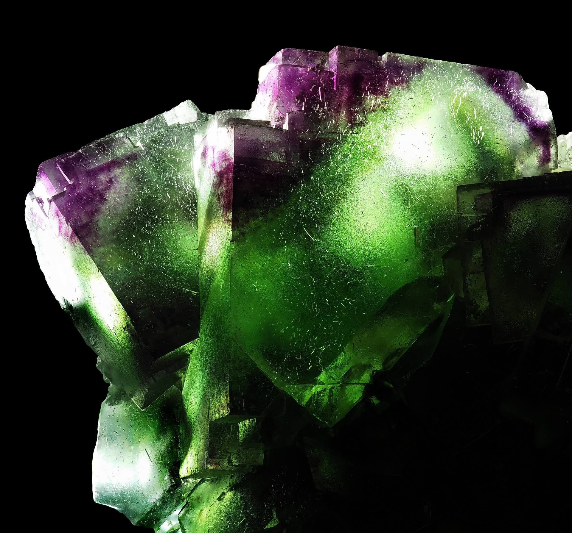 Rich green Fluorite with purple zoning.