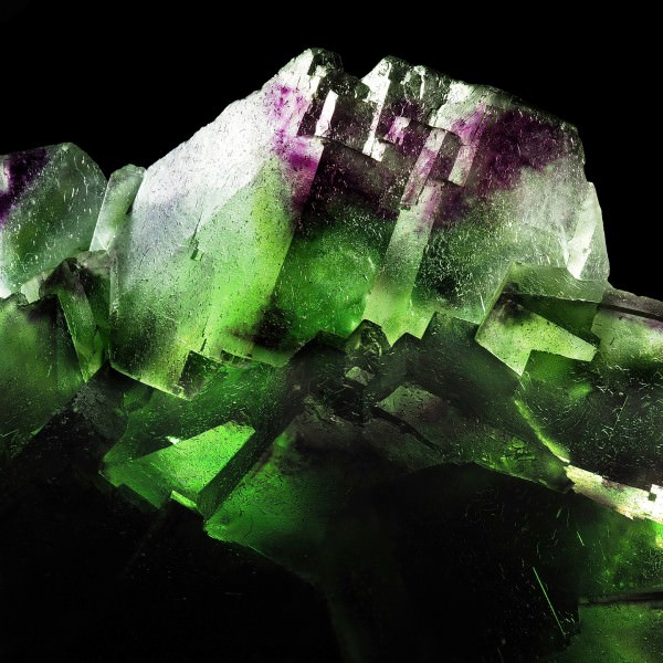 Zoned Cubic Fluorite Cluster