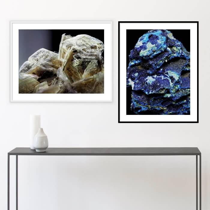 mineral photos printed and framed, hanging on a wall